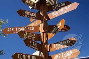Mile sign post. Alaska, USA